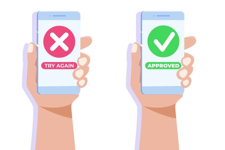 Payment error and approved concept. Vector illustration.