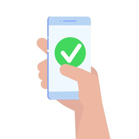Checkmark on smartphone screen. Vector illustration.
