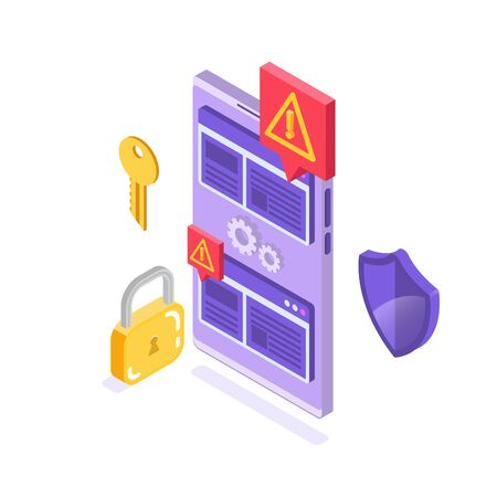Web ban bypass, Internet censorship bypassing. Content control blocking, filtering offensive chats messaging. Vector isometric illustration. Illustration