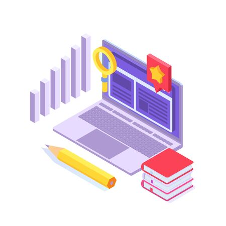 Case study concept. Flat style isometric vector illustration.
