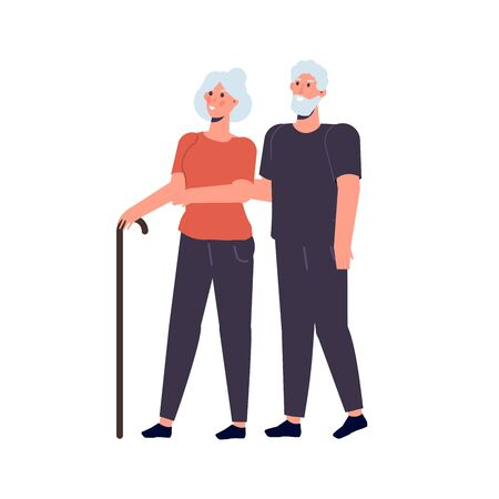 Elderly couple, grandparents stand together. Vector illustration Illustration