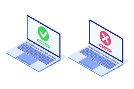 Payment error and approved concept. Vector isometric illustration.