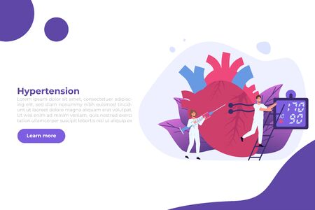 High Blood Pressure, hypertension disease. Tiny doctors treat, inspection check human Heart. Vector illustration.
