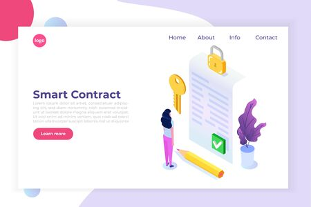 Digital signature, Electronic Smart contract.  Isometric Vector illustration, hero images. Web page template.