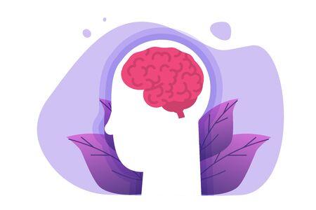 Brain health concept. Human head and brain icon.Vector illustration