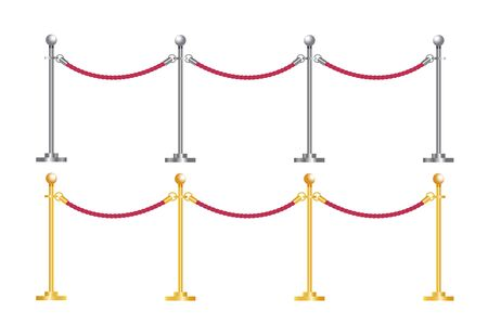Rope barrier realistic, Tiled stand barriers. Vector illustration