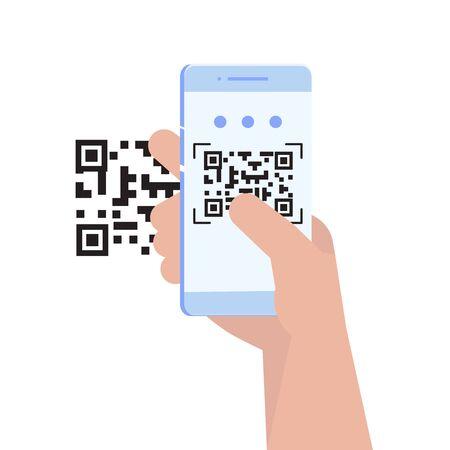 Use smartphone for QR code scanning. Landing page template. Vector illustration.