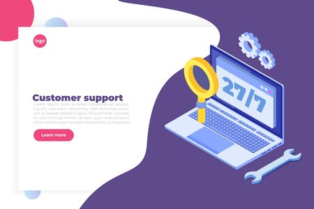 Support or call center 24/7 concept.   Web page design templates.  24 hours open customer service. Vector illustration Isometric.