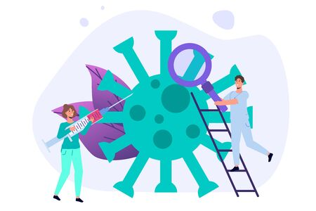 COVID-19 corona virus concept with characters. Vector illustration.