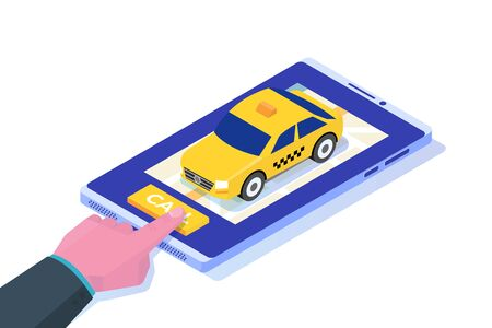 Ordering taxi online mobile app isometric concept. Vector illustration Vectores