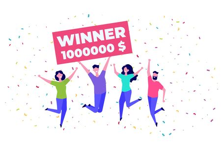 People holding giant check. Winning  ticket. You are winner.  Bib win lottery. Vector illustration