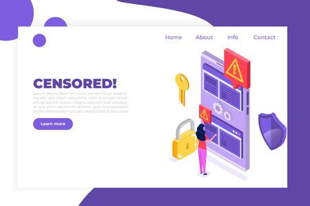 Web ban bypass, Internet censorship bypassing. Content control blocking. Vector isometric illustration.
