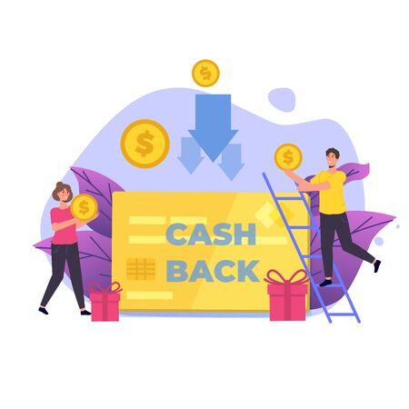 Money cash back, online banking, money growth concept. Flat vector  illustration. Ilustração