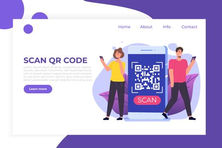 People use smartphone for QR code scanning. Landing page template. Vector illustration.
