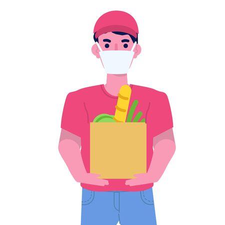 Safe Food delivery concept with character.  Courier delivering grocery order. Vector cartoon illustration