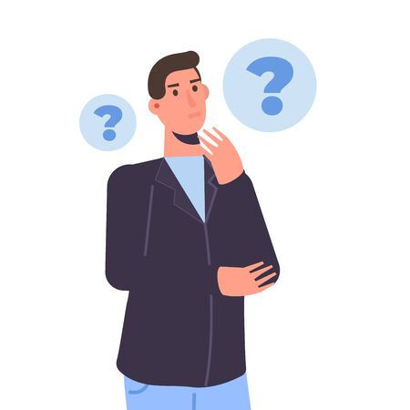 Thoughtful people. Men solving problem. Vector illustration. Vector Illustration