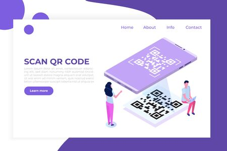 People use smartphone for QR code scanning. Landing page template. Vector isometric illustration.