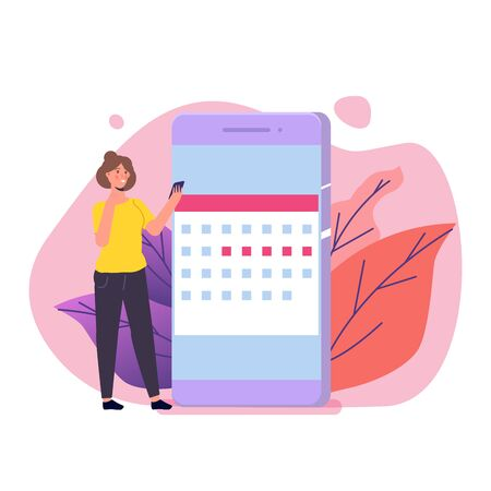 Woman monthly periods, menstrual cycle calendar. Vector illustration.