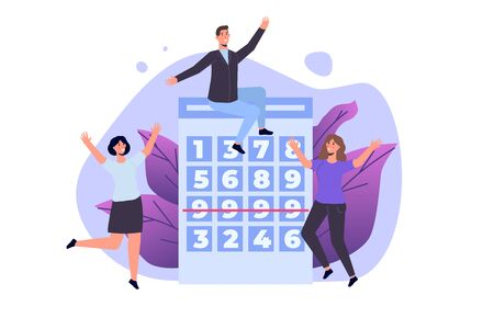 Flat lottery or Bingo, Gambling business concept. Tiny winer persons. Vector illustration. Vectores