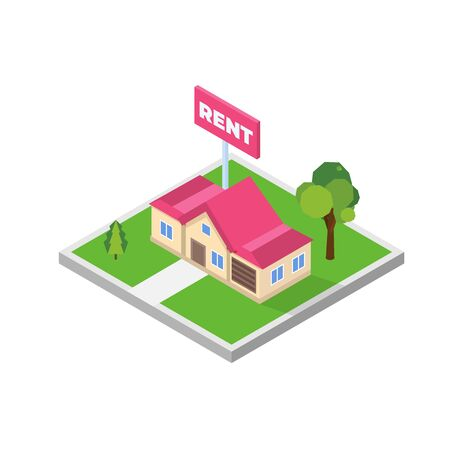 Estate agency concept. Rent cottage icon. Vector isometric illustration. Vectores