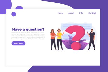 FAQ,  Frequently Asked Questions, user manual or guide, Online Support center concept.  People Characters Standing near giant question mark. Vector illustration.