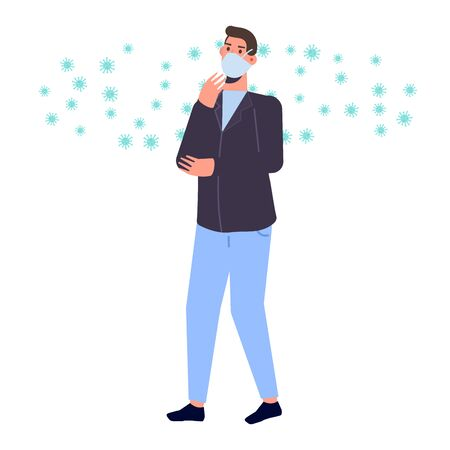People in protective masks. Prevent disease, world pollution concept. Vector illustration