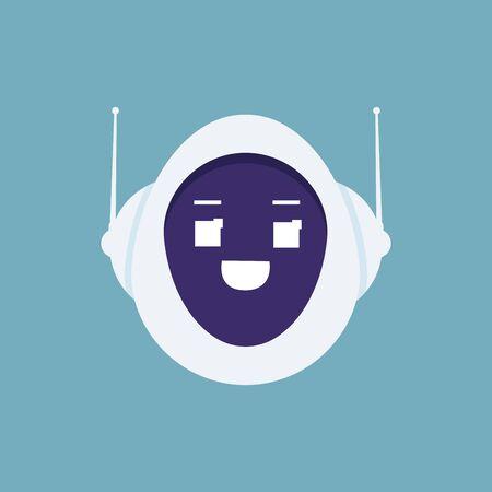 Cute robot head avatar emotion, Emoji android concept. Vector illustration flat design style.