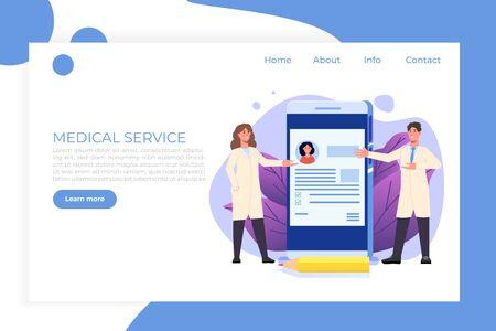 Medical record, Online doctor landigg web page template. Vector illustration.
