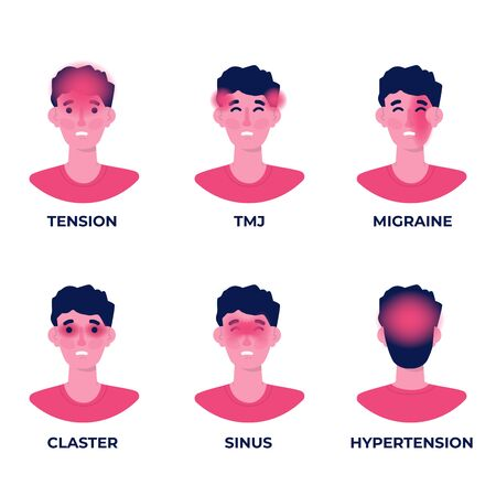 Headache types on different area of patient head set.  Vector illustration.