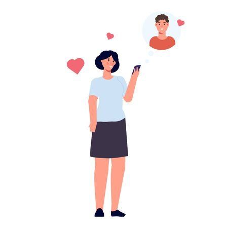 Online dating concept. Woman hold a mobile phone in hands. Vector illustration flat design style.