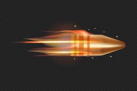 Realistic flying bullet with fire trace. 3D vector isolated on transparent background illustration.