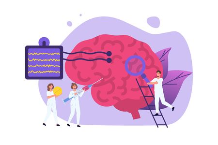 Diagnóstico de neurología, Ilustración de vector de concepto de neurobiología. Neurólogo Pequeños médicos tratan, inspeccionan el cerebro humano.