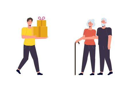 For Seniors Delivery concept. Flat style vector illustration.