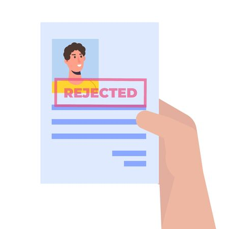 Job application rejected document paper. Vector isometric illustration