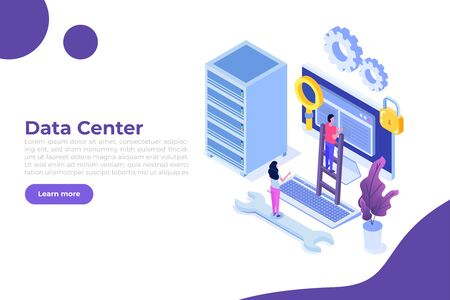 IT Administrators server, systems configuration, network upkeeping, Data center concept. Flat isometric vector illustration