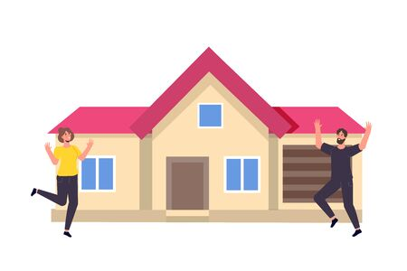 Estate agency concept. Rent cottage. Hapy family near new home. Vector illustration.