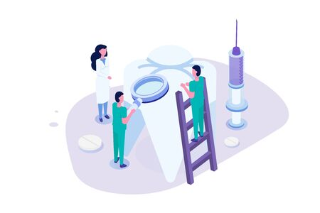 Dentist doctor. Stomatology, Oral Surgery, Dentist appointment concept. Medic protect teeth.  Vector isometric illustration for poster, flyer, banner.
