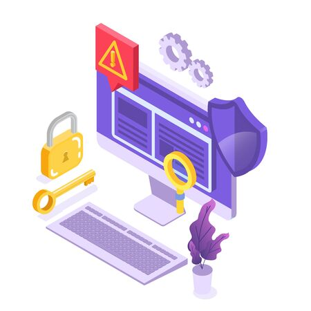 Web ban bypass, Internet censorship bypassing. Content control blocking, filtering offensive chats messaging. Vector isometric illustration. Vectores