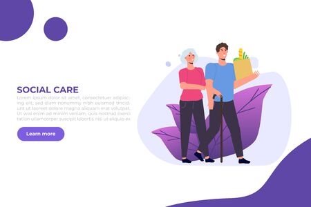 Social workers or Volunteer Care about senior people. Vector illustration. Illustration