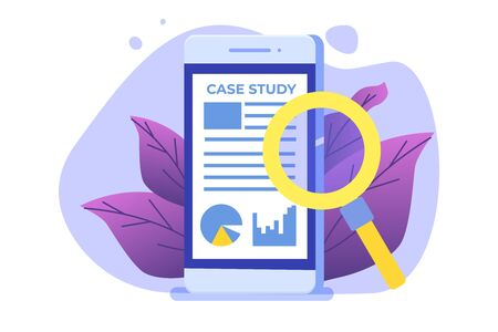 Case study concept with smartphone. Flat style vector illustration