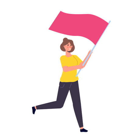 Human running with a flag. Vector illustration