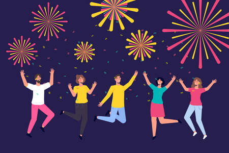 Crowd watching fireworks in the sky at night. Celebrating new year. Flat vector illustration. Ilustração Vetorial