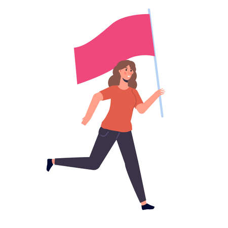 Woman running with a flag. Vector illustration