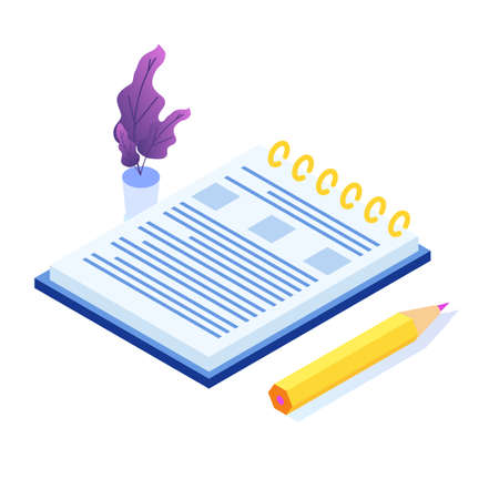 Diary writing isometric icon. Vector flat style illustration. 向量圖像