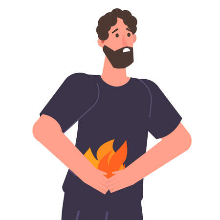 Man holding abdomen. Heartburn and stomach problems concept.  Vector illustration.