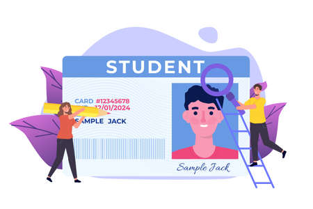 School, Student id card with photo. Vector illustration.