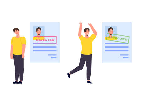 Job application Rejected and  Approved document paper. Vector llustration