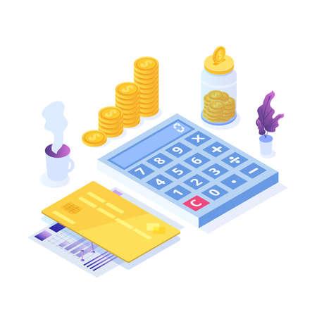 Budget planning, Balance financial, Retirement preparation, Calculating financial risk concept. Vector illustration.