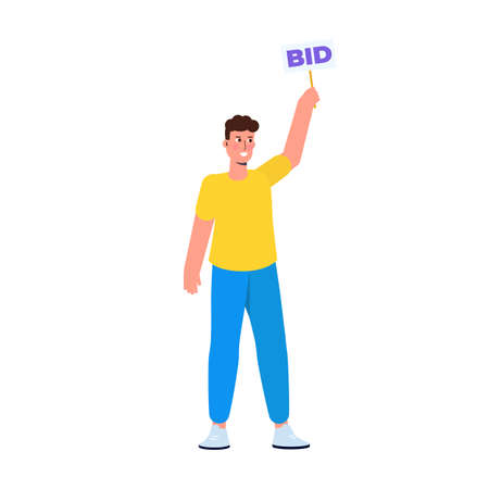Character  holding auction paddle with bid text. Vector illustration.