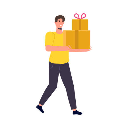 Delivery of goods. Customer Delivery Character. Vector illustration